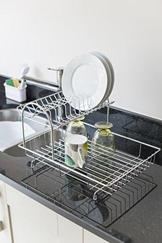 -[ Addis 2-Tier Drainer Dish Draining Rack, Stainless Steel, 4-Piece  ]-