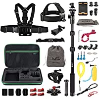 HSU Accessories Kit for GoPro HERO 5 4 3+ 3 2 1 ,Sports Camera Accessories Set for Xiaomi Yi, and Other Digital Cameras(47-in-1set)