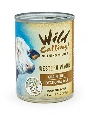 Wild Calling - Western Plains 96% Beef, Natural Flavor, Wet Canned Dog Pet Food - Grain and Gluten-Free - 12 x 13 ounce