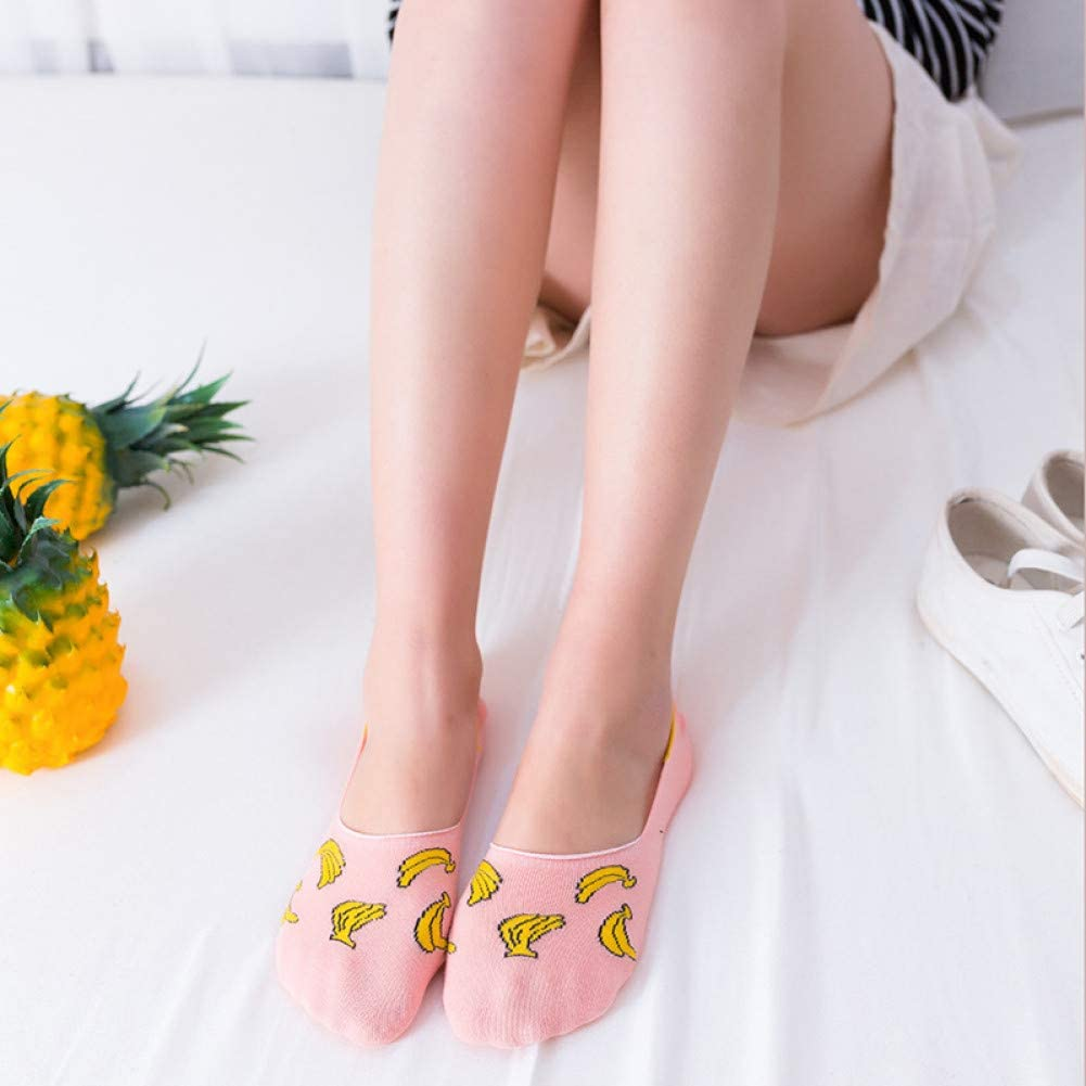 BAIJINGTING Calcetines de Mujer de Dibujos Animados Calcetines Invisibles Calcetines Cortos Cortos de Mujer Calcetines Bajos Transpirables Calcetines Cortos de algod/ón sin Costura para Mujer