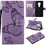 Anzeal Moto E5 Case, [Butterfly Embossing] Wallet Case PU Leather Wallet Case with [Kickstand] Card Holder and ID Slots Phone Case for Motorola Moto E5 Purple