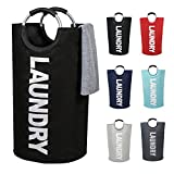 Large Laundry Basket Collapsible Fabric Laundry Hamper Tall Foldable Laundry Bag with Handles Waterproof Portable Washing Bin Folding Clothes Bag for Travel Shopping Bathroom College (Black, L)
