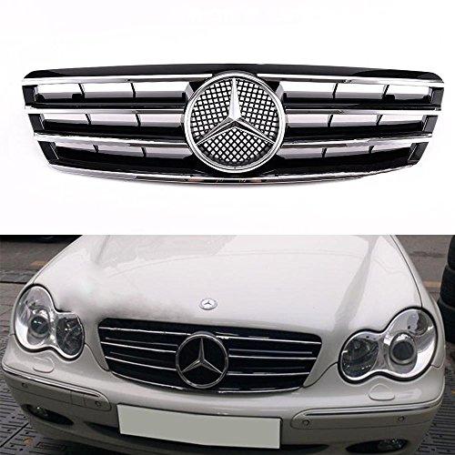 Vakabva Mercedes Benz Grill Black Chrome Grille CL Style Front Bumper Grille Grill for Mercedes Benz W203 C230 C320 C240 2001-2007 (C230 Kompressor Sedan)