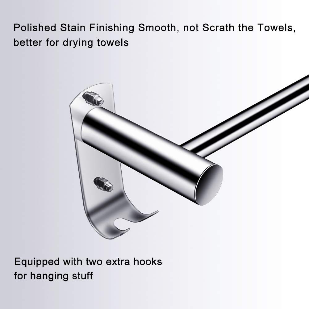 Toallero 50 CM con gancho pared, CHOELF Max 8KG estanteria baño toallero pared adhesivo con ganchos de acero inoxidable, Toalleros de gancho para baño ...