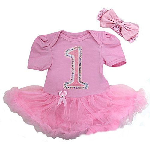 Glitter 1st Birthday Bodysuit X-Large Pink