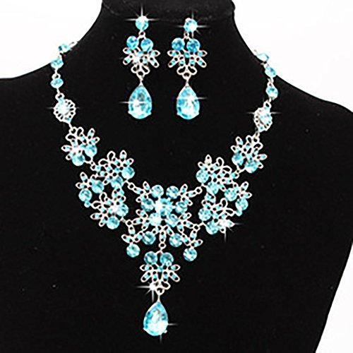 Hemlock Lady Crystal Necklaces, Women Wedding Necklaces Earrings Rhinestone Pendant Necklaces Jewelry (Light blue) - Date Turquoise Necklace
