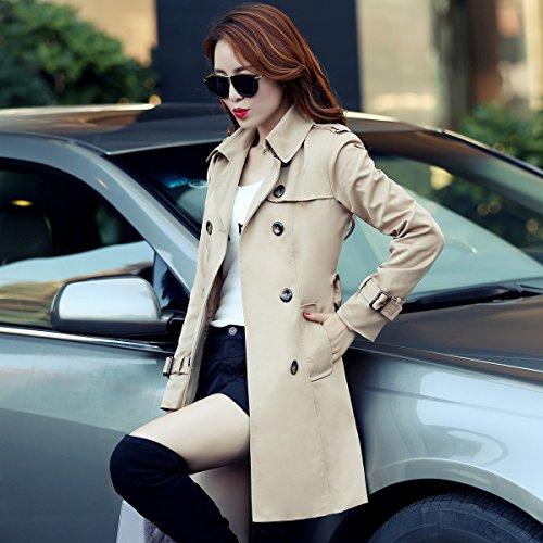 botonadura largo Slim doble Caqui anorak chaqueta niñas Slim Mayihang cintura temperamento cCFx8w5qHq
