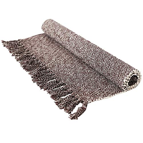 (Wolala Home Contemporary Reversible Hand Woven with Fringe Cotton Indoor Area Rug Mats Throw Rugs with Non Skid Pad for Bedroom/Kitchen/Living Room/Laundry Room/Entryway (2'x3', Dark Brown))