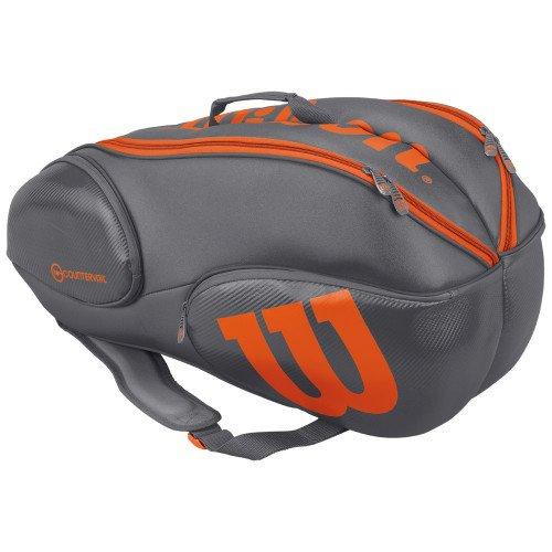 Wilson Burn Grey/orange 9 pack bag (Grey/Orange) by Wilson