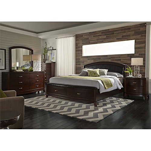 Liberty Furniture Avalon 5 Piece King Faux Leather Storage Bedroom Set