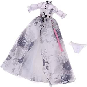 Handmade doll princess wedding dress for  1//6 doll party gown clothes WL