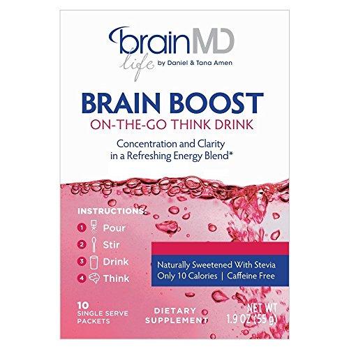 - Dr. Amen BrainMD Brain Boost On-The-Go Drink (10 Single Drink Packets) Caffeine Free Energy Blend