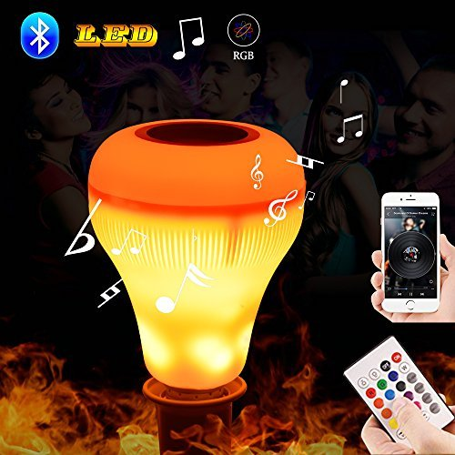 Led Music Speaker Light Bulb with Flame Effect Light RGB Changing Lamp Wireless Stereo Audio with 24 Keys Remote -