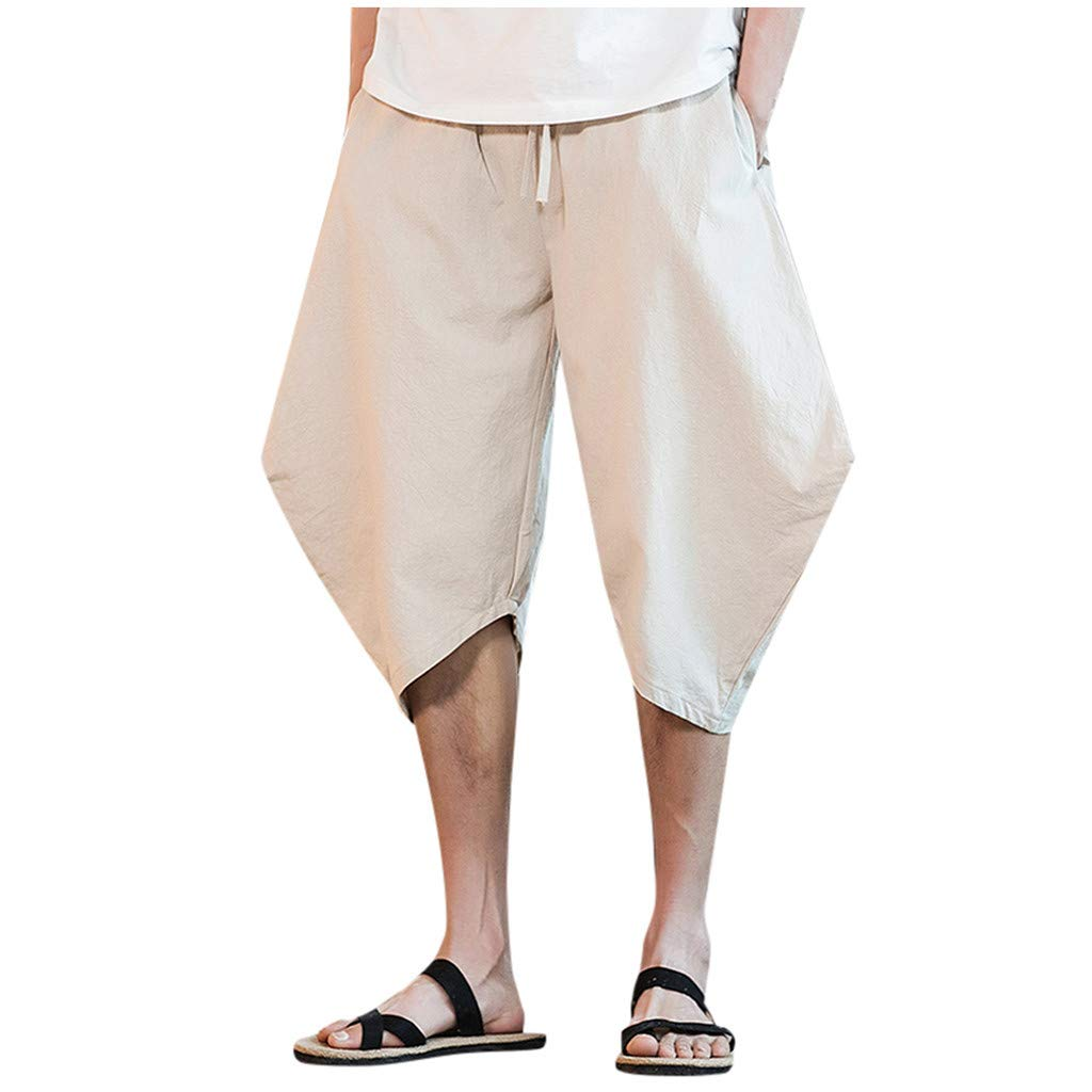 TANLANG Men New Plus Size Leisure Fashion Trousers Linen Style Loose Casual Drawstring Outdoor Summer Solid Sweatpants