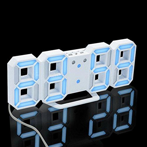 Coohole New Modern Digital LED Table Desk Night Wall Clock Alarm Watch 24 or 12 Hour Display (B)