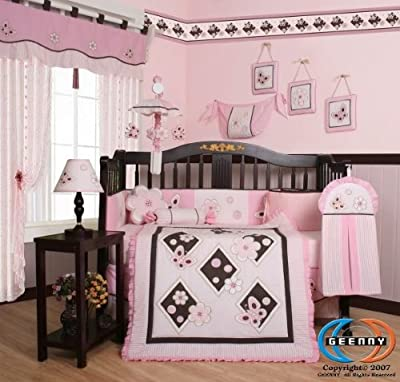 Boutique GEENNY Pink Butterfly 13PCS Baby Nursery CRIB BEDDING SET from GEENNY