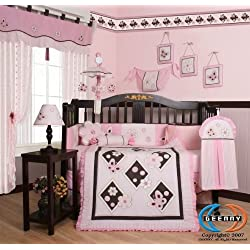 GEENNY Boutique 13 Piece Girl's Crib Bedding Set, Pink Butterfly