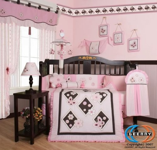 GEENNY-Boutique-13-Piece-Crib-Bedding-Set-Pink-Butterfly