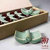 5 Celadon Green Korean Roof Tile and Crane Cloud Flower Design Ceramic Pottery Porcelain Chopstick Spoon Rests Gift Set