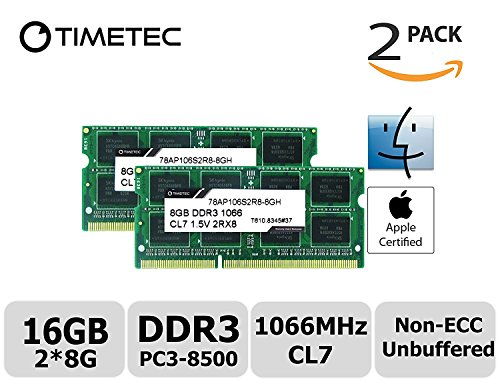 Timetec Hynix IC Apple 16GB (2x8GB) 1066 MHz PC3-8500 204-Pin DDR3 Memory Kit for iMac 27-Inch Late 2009, Mac Mini Mid 2010 Server, Mac Mini Mid 2010 and MacBook Pro 13-Inch Mid 2010 (Mac Mini With Os X Server)