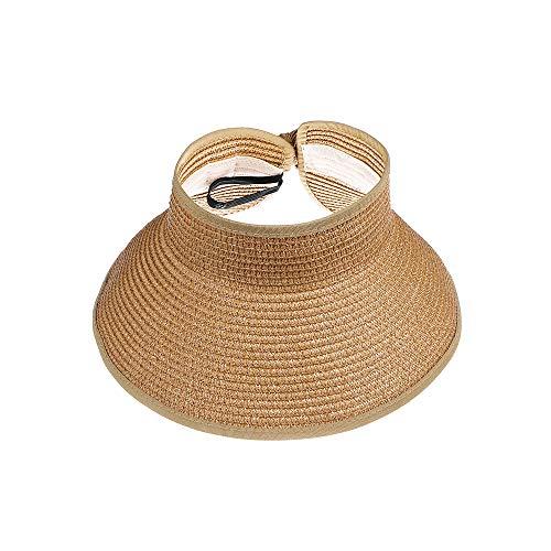 Kids Summer Roll Up Sun Visor Hat Wide Brim Straw Beach Hat Cap Sun Hats with Bow for Girls(Khaki) -
