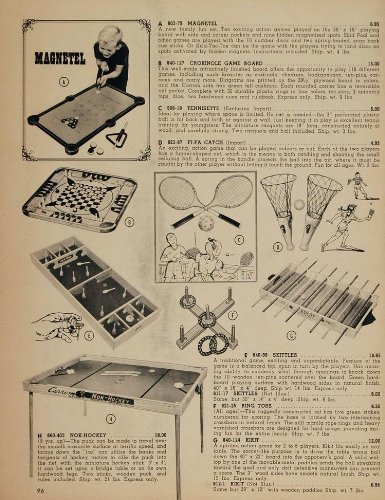 1962 Ad Magnetel Crokinole Game Board Skittles Hockey - Original Print Ad (Skittles Game Board)