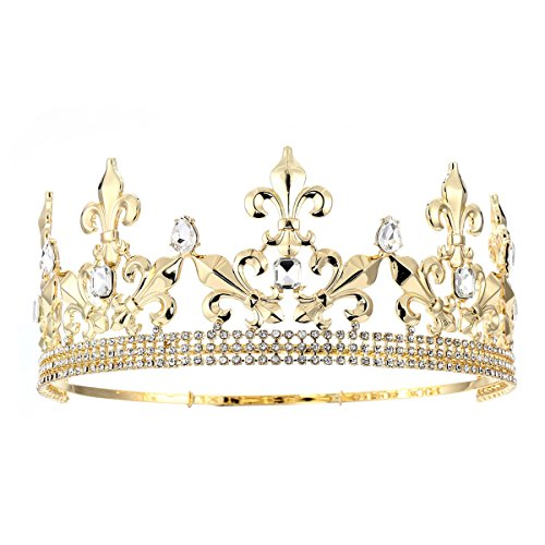 Eseres Full Circle Men's Crown Imperial Medieval Tiara Fleur De Lis Gold King Crown Pageant Party
