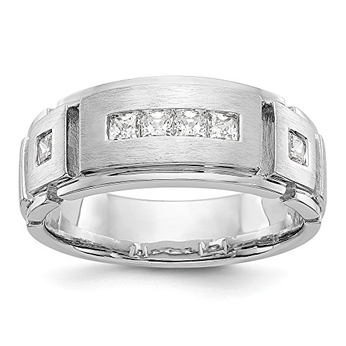 JewelrySuperMart Collection 5/8 CT 14k White Gold AA Diamond Men's Band. 0.6 ctw. Size 12