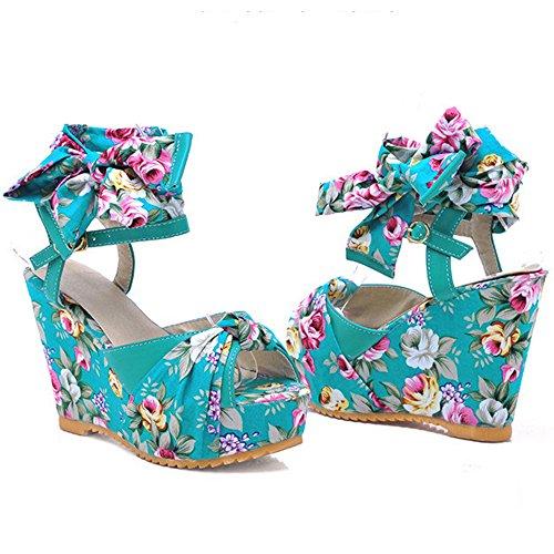 RAZAMAZA Mujer Casual Floral Peep Toe Cordones Tacon de Cuna Sandalias Azul