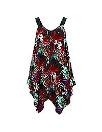 HTDBKDBK Women Plus Size Irregular Sleeveless Off The Shoulder Sling Sleeveless Dress Loose Party Mini Dress Sundress