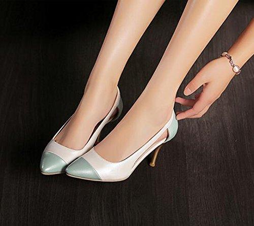 Frühjahr neu PU Shallow Mund Schuhe mit hohen Absätzen Weiß
