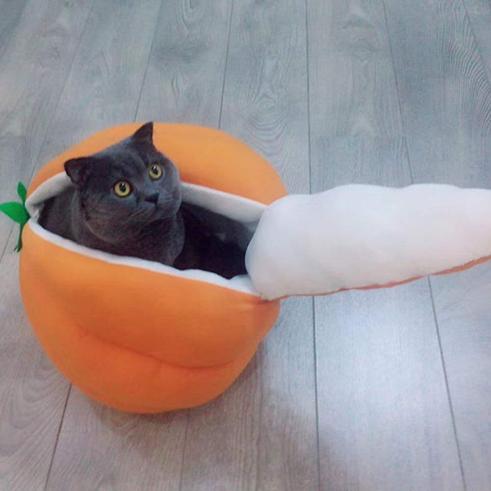 Fad-J Mascotas Cama Creativa De Calabaza De Melocotón Envuelto Mascota Nido De Otoño E Invierno Caliente Gato Cama A + (Color: Naranja, Tamaño: Pequeño) ...