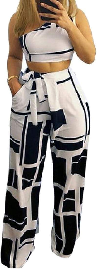 Pandapang Women Jumpsuit Wide Leg Printed Summer 2 Piece One Shoulder Outfit Set