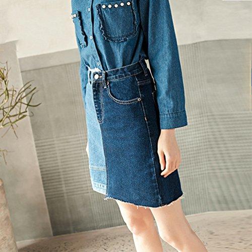 Di Jeans Gonna Elegante Dooxii Corte Mini Casuale Denim Una Blu Estate Gonne Linea Donna 6nPPqavU