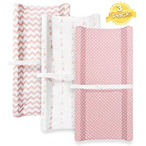 Changing Pad Cover Set for Girls | Cradle Bassinet Sheets/Change Table Covers for Boys & Girls | Super Soft 100% Jersey Knit Cotton | Pink and White | 150 GSM | 3 Pack