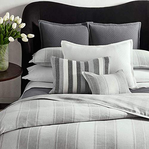 Ralph Lauren Oakview Duvet Cover Graphite Pewter Gray/White Stripe - -