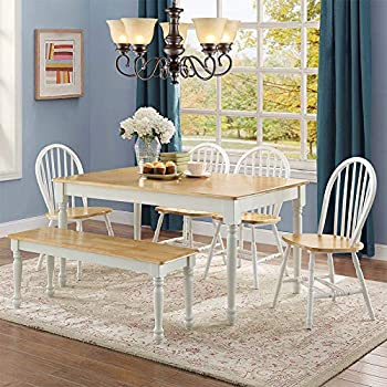 7c47f93b663d White Dining Room Set with Bench. This Country Style Dining Table and Chairs  Set for 6 Is Solid Oak Wood Quality Construction. A Traditional Dining Table  ...