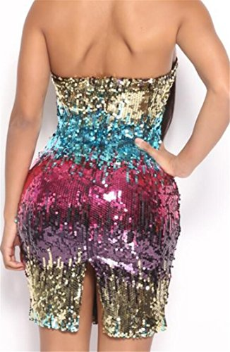Sequins Women's Dress Mini 1 Back Split Strapless Sexy Party Bodycon Domple qEwOfZxq