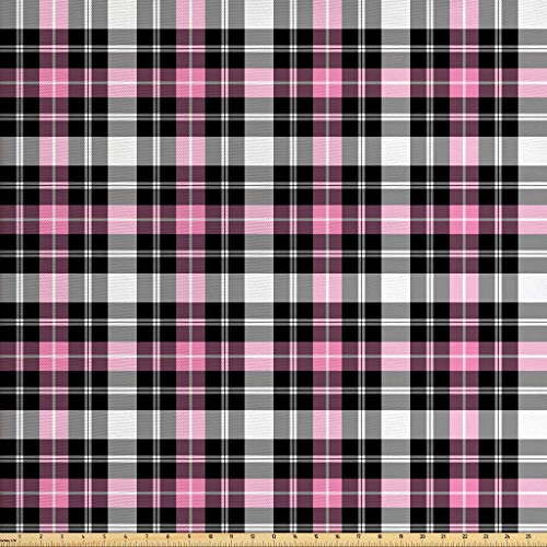 - Lunarable Plaid Fabric by The Yard, Checkered Feminine Fashion Pattern Classical Country Style with Modern Look, Decorative Fabric for Upholstery and Home Accents, 1 Yard, Pale Pink Black Gray