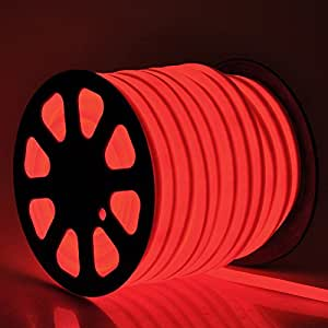 150' Feet Red LED Neon Rope Light Hotel Outdoor Christmas Holiday Decorative Flex Tube