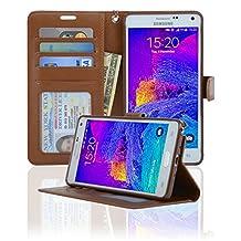 Navor Protective Flip Wallet Case for Samsung Galaxy Note 4 - (Brown)