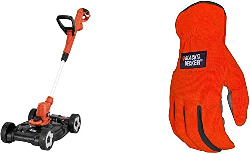 BLACK DECKER 3-in-1 String Trimmer Edger Lawn Mower, 6.5-Amp, 12-Inch with Easy-Fit All Purpose Glove MTE912 BD505L