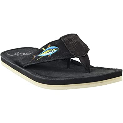 ca2201f348b8 Image Unavailable. Image not available for. Color  Guy Harvey Mens  Yellowfin Sandals Black