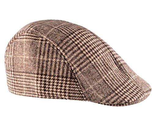 Chapeau Beret Casquette en Coton Plaid - Tissu écossais Couleur Beige Foncé, Taille Unique, Unisex