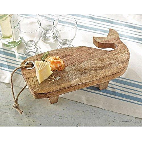 Mud Pie Wood Whale Pedestal Tray 6 inch x 13 1/2