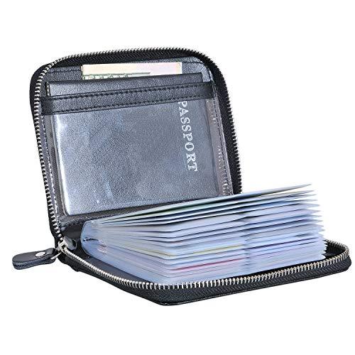 Large Credit Card Holder Wallet Genuine Leather Passport Holder 42 Card Slots (Black)