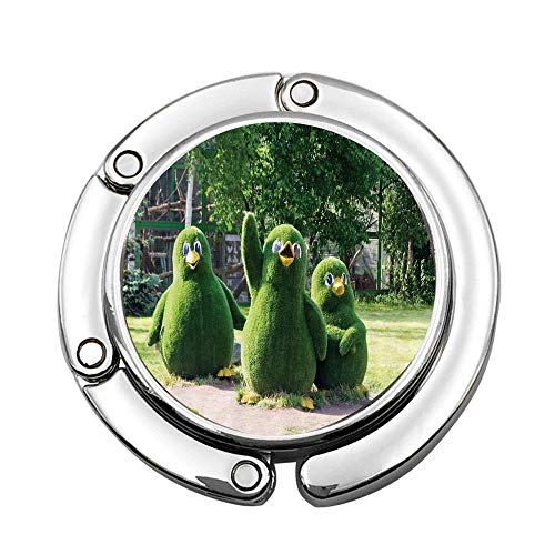 (Mrsangelalouise Sweet Waving Wing Penguin Figures from Topiary Bushes Greeting at Zoo Photo Foldable Lady Handbag Table Desk Hanger Hook Purse Table Hanger Holder)