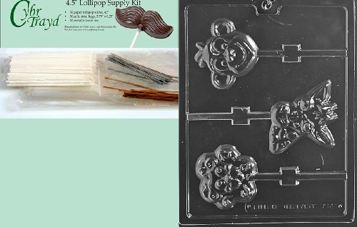 Cybrtrayd 45StK50-A144 Animal Faces Lolly Monkey Lion Chocolate Candy Mold with Lollipop Supply Kit by CybrTrayd