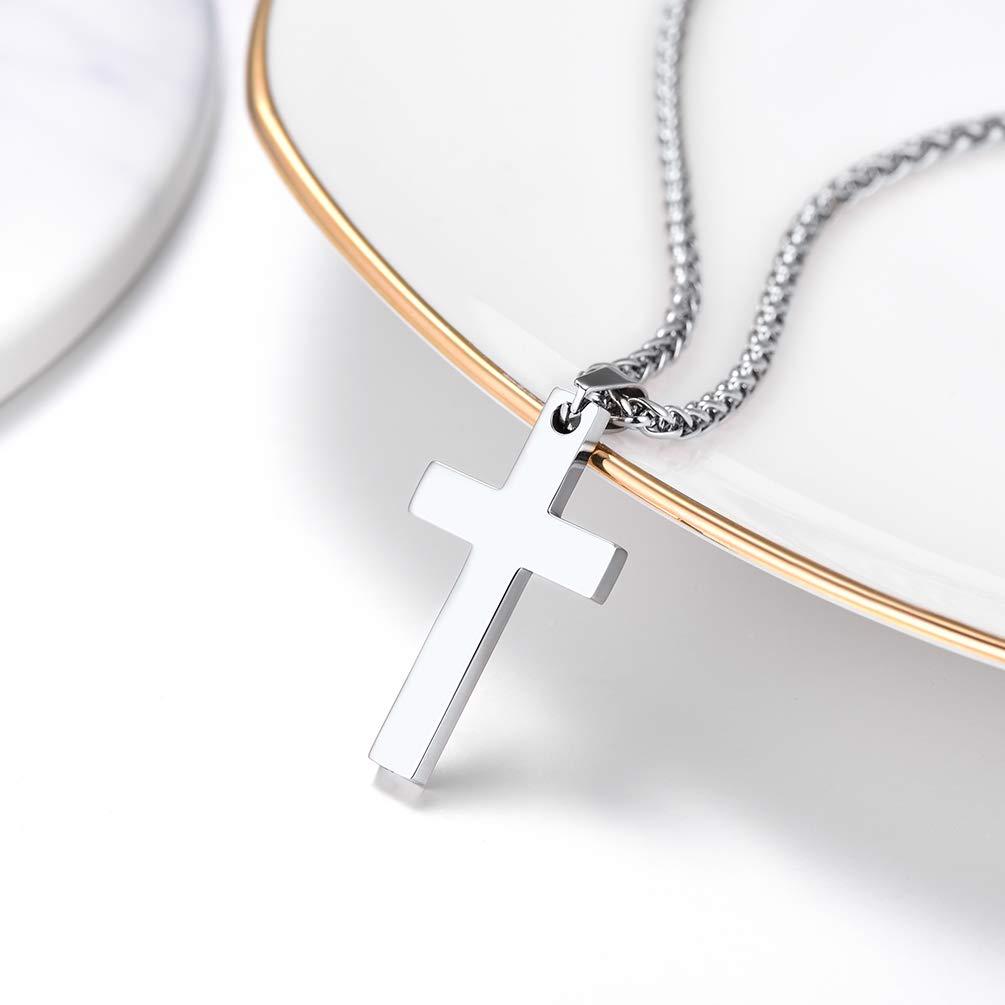 e8f59bcea253 PROSTEEL Collar Hombre Mujer Colgante de Cruz Sencilla de Acero Inoxidable  con Cadena Trigo 60cm Colgante Religioso para ...