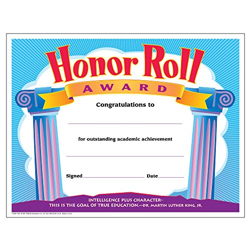 (TREND enterprises, Inc. Honor Roll Award Colorful Classics Certificates, 30 ct )